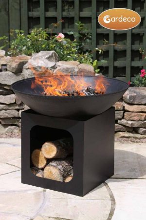 Large cast iron fire bowl with log store; 56dia x 47.5cm high