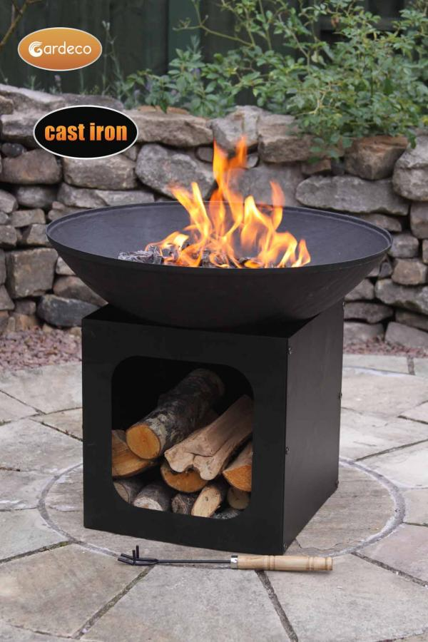 -Large cast iron fire bowl with log store; 56dia x 47.5cm high