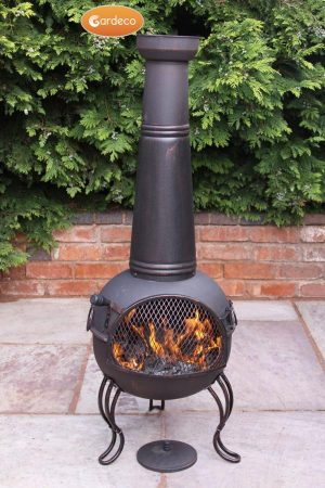 - Kobie large steel chimenea 125cm high