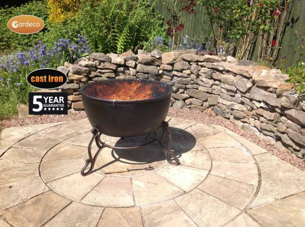 -MERIDIR extra-large cast iron fire bowl 60.5cm dia