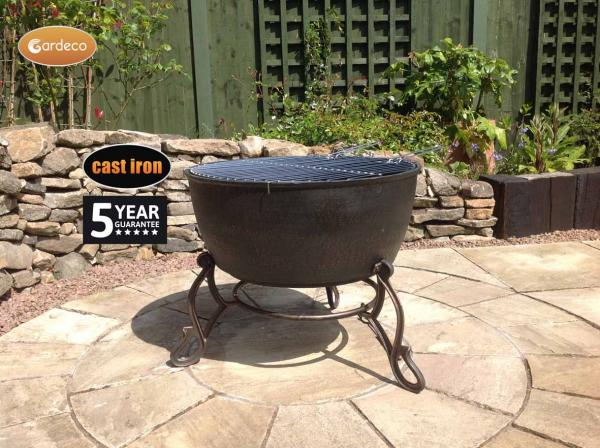 - MERIDIR extra-large cast iron fire bowl 60.5cm dia