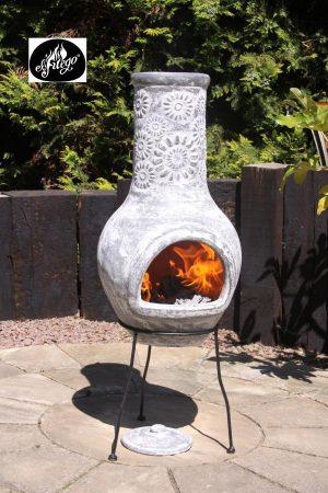 - Morena clay chimenea with stoney flower decoration, grey colour