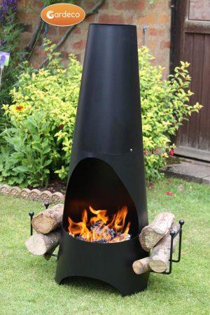 - Oslo Contemporary garden fireplace chimenea, black