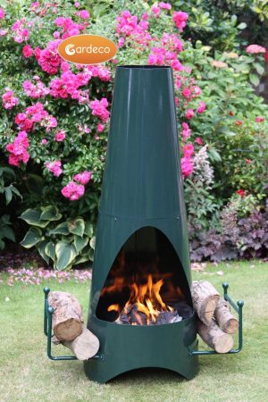 - Oslo Contemporary garden fireplace chimenea, green.