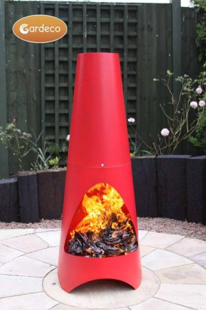 - Oslo Contemporary garden fireplace chimenea, red