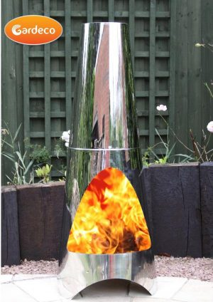 - Oslo Contemporary garden fireplace chimenea, stainless steel