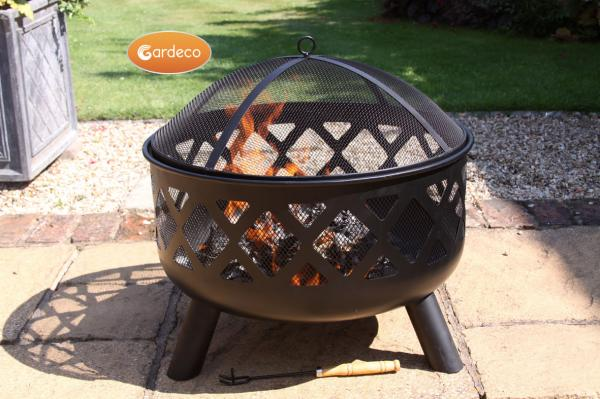 -Deep-drawn fire bowl with criss cross cut-out view of fire