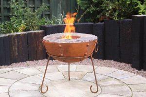 - Theydon Kadai rustic steel fire bowl 50cm dia