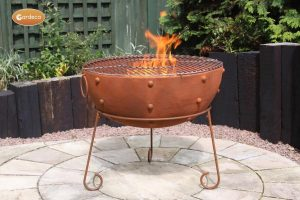 - Theydon rustic steel fire bowl 70cm dia x 63cm H