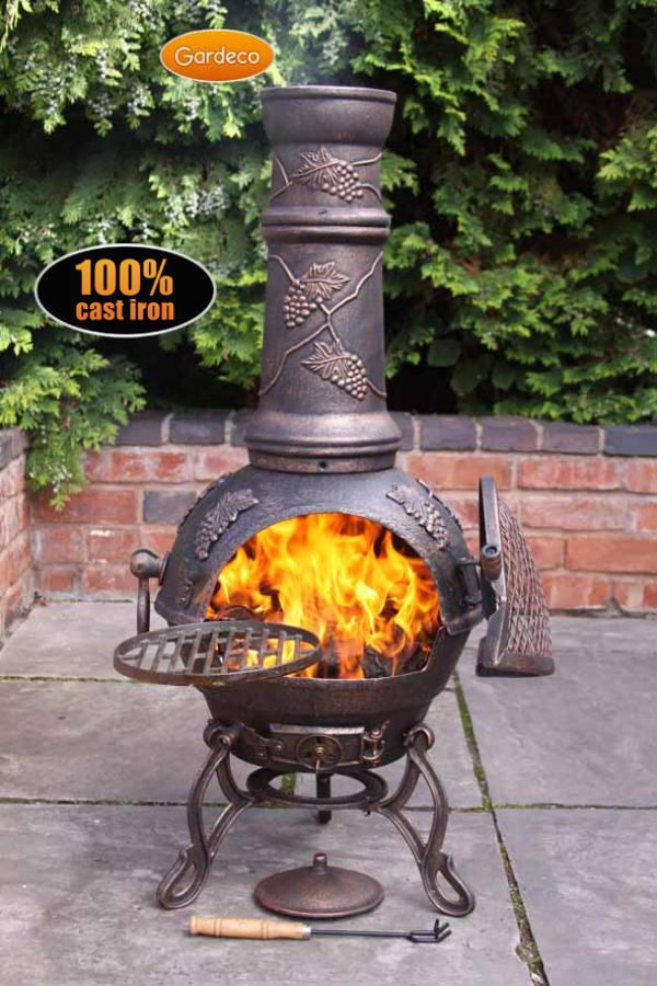 - Toledo cast iron chimenea large in bronze with grapes design