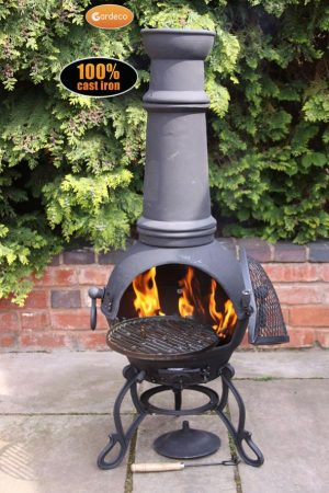 -Toledo cast iron chimenea extra-large in black MAIL ORDER carton