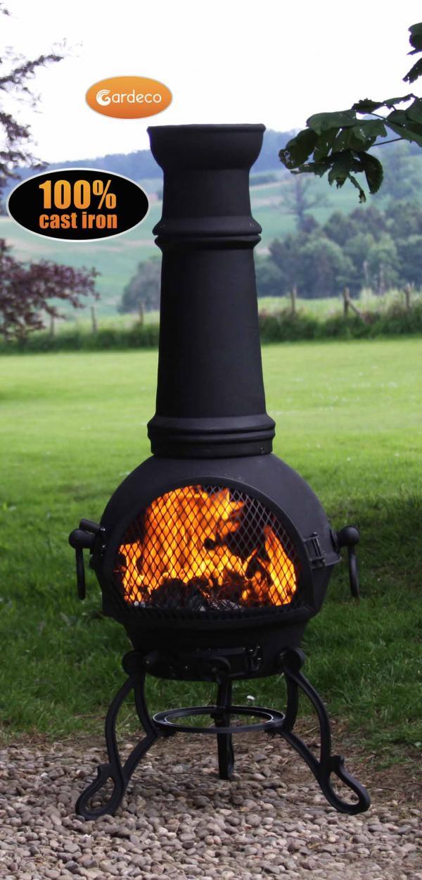 -Toledo cast iron chimenea extra-large in black MAIL ORDER carton