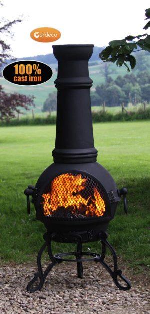 - Toledo cast iron chimenea extra-large in black