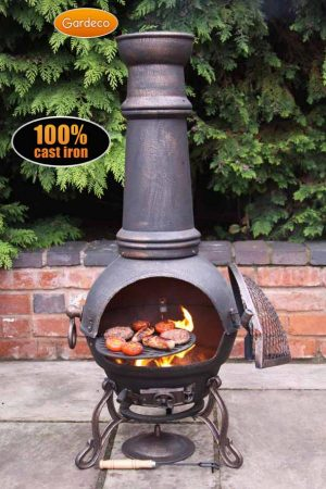 - Toledo cast iron chimenea extra-large in bronze