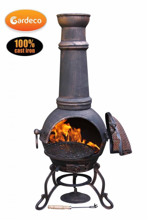 - Toledo cast iron chimenea extra-large in bronze