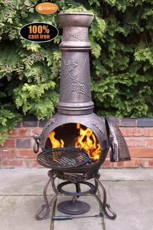 - Toledo cast iron chimenea extra-large bronze with grapes design
