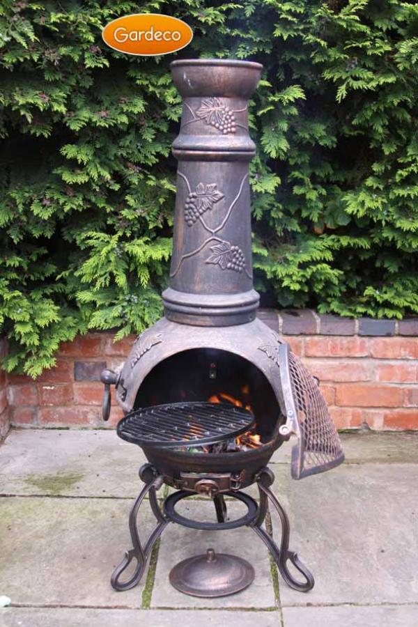 - Toledo cast iron chimenea extra-large bronze with grapes design