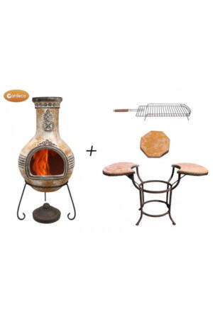 Azteca Extra-Large Mexican Chimenea in Yellow with Cradle, Tiles & BBQ Grill