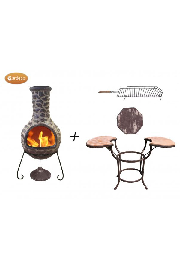 Cantera Extra-Large Brown Mexican Chimenea with Cradle, Tiles & BBQ Grill