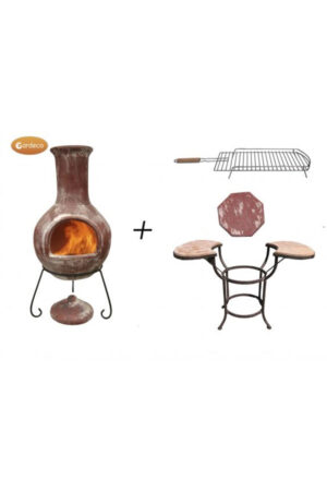 Colima Extra-Large Red Mexican Chimenea With Cradle, Tiles & BBQ Grill