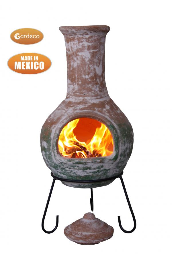 Colima Mexican Chimenea With Natural Clay Top & Green Bottom