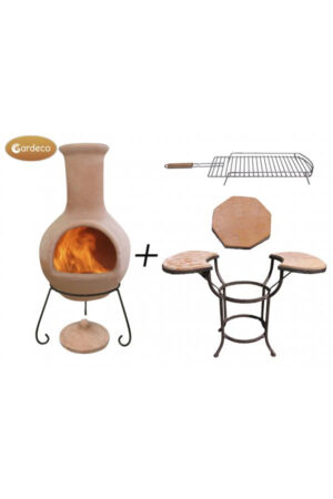 Colima Natural Terracotta Extra-Large Mexican Chimenea With Cradle, Tiles & BBQ Grill