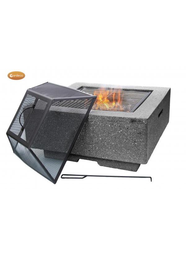 Cubo Square Stone Effect Firepit in Dark Terazzo Finish