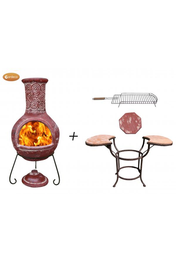 Espiral Extra-Large Red Mexican Chimenea with Cradle, Tiles & BBQ Grill