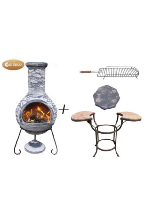 Olas Extra-Large Bluey Grey Mexican Chimenea with Cradle, Tiles & BBQ Grill