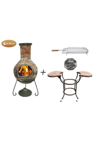Plumas Extra-Large Green Mexican Chimenea with Cradle, Tiles & BBQ Grill