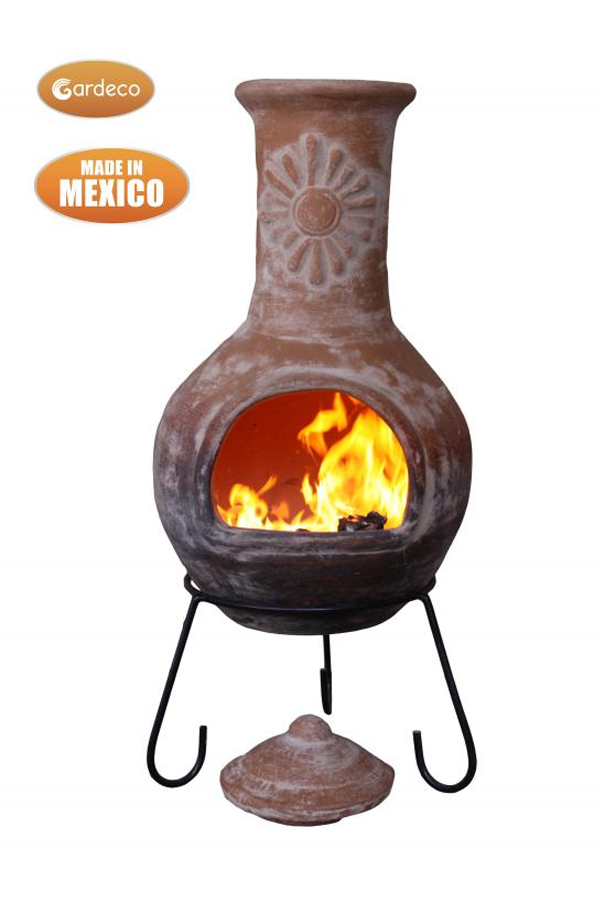 Sol Extra Large Orange Sun Motif Mexican Chimenea with Purple Base & Natural Top
