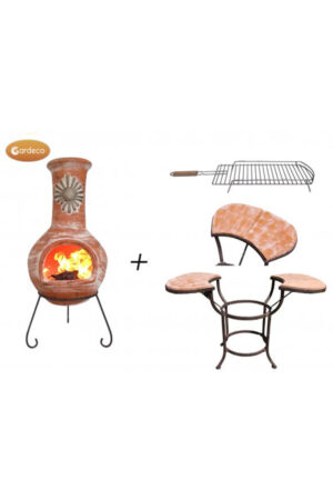 Sol Extra-Large Rustic Orange Mexican Chimenea with Cradle, Tiles & BBQ Grill