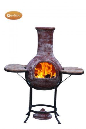 -BBQ bundle pack containing 1 x EL clay chim 1 x cradle 1 x set tiles 1 x BBQ grill 1 bag of lava st
