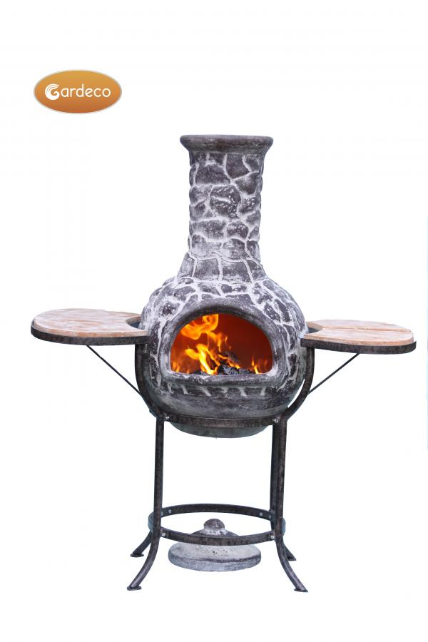 -BBQ bundle pack containing 1 x EL clay chim 1 x cradle 1 x set tiles 1 x BBQ grill 1 bag of lava st