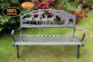 - 100 cast iron bench with horses and tree