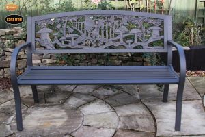 - Steel framed cast iron bench with fairies