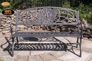 - 100 cast iron bench with green man