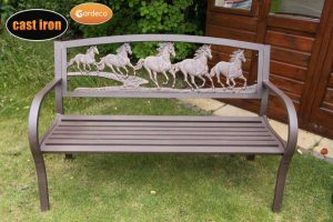-Steel framed cast iron bench with running horses