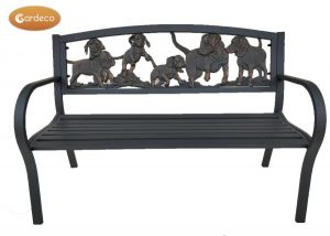 - Steel framed cast iron bench with puppies