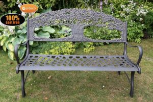- 100 cast iron bench with tree