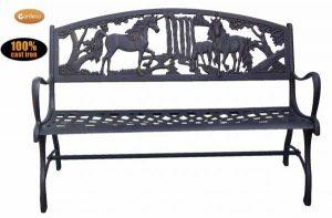 -100 cast iron bench with unicorns
