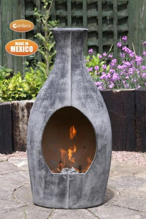 - Large BOTELLA Mexican chimenea contemporary look charcoal grey