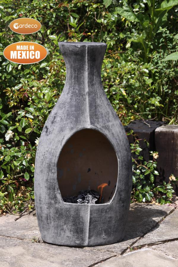 -Med BOTELLA Mexican chimenea contemporary look, charcoal grey