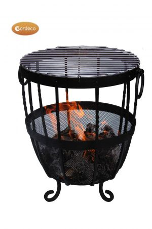 -Brazier wrought iron fire bowl with black heat resistant paint