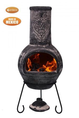 -Wulfryc stylised wolf Mexican chimenea Charcaol colour Celtic theme including stand and lid