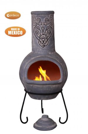 - Wulfryc stylised wolf Mexican chimenea Grey colour Celtic theme including stand and lid