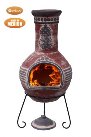 - Azteca XL Mexican Chimenea in red with grey mouth and  top