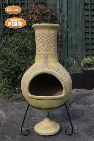 - Derwyn The Tree Mexican chimenea mustard tone Celtic theme including stand and lid