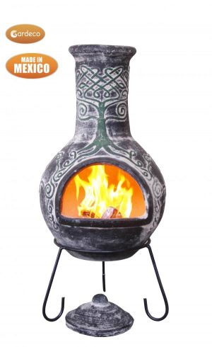 - Derwyn The Tree Mexican chimenea green tree on charcoal Celtic theme including stand and lid