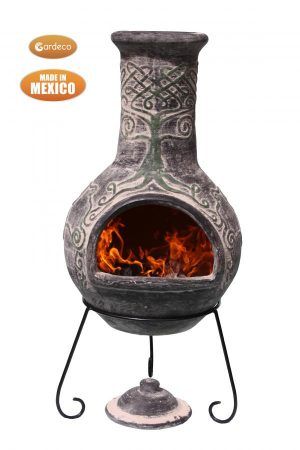 -Derwyn The Tree Mexican chimenea green tree on charcoal Celtic theme including stand and lid